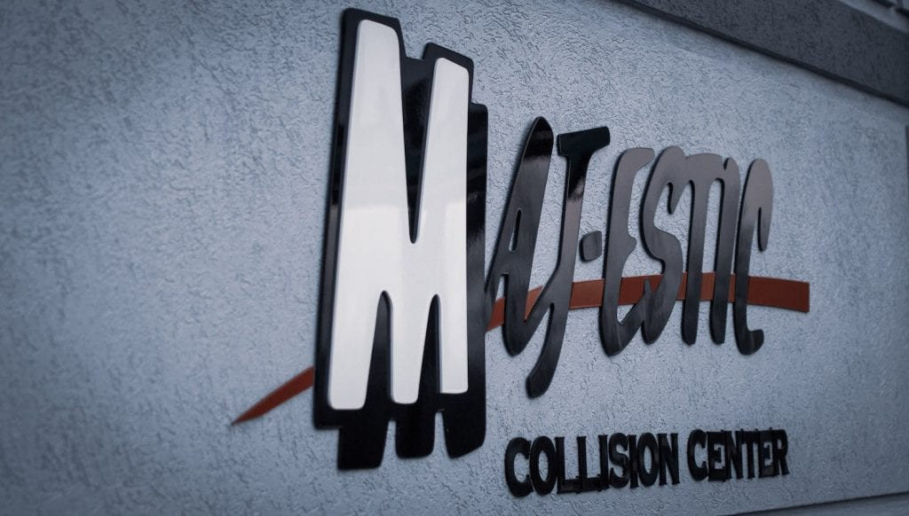 building sign and logo at maj-estic collision center